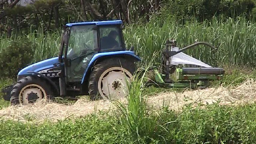 干し草刈り取りトラクター