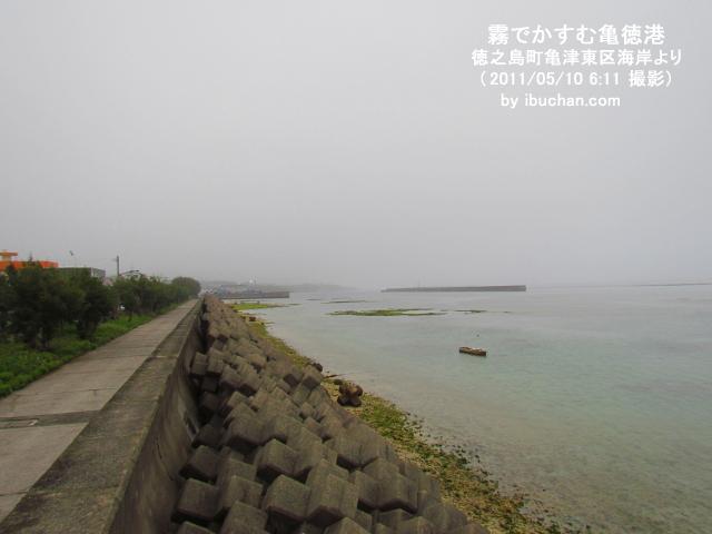 霧でかすむ亀徳港