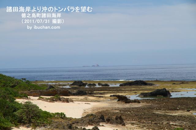 諸田海岸より沖のトンバラを望む