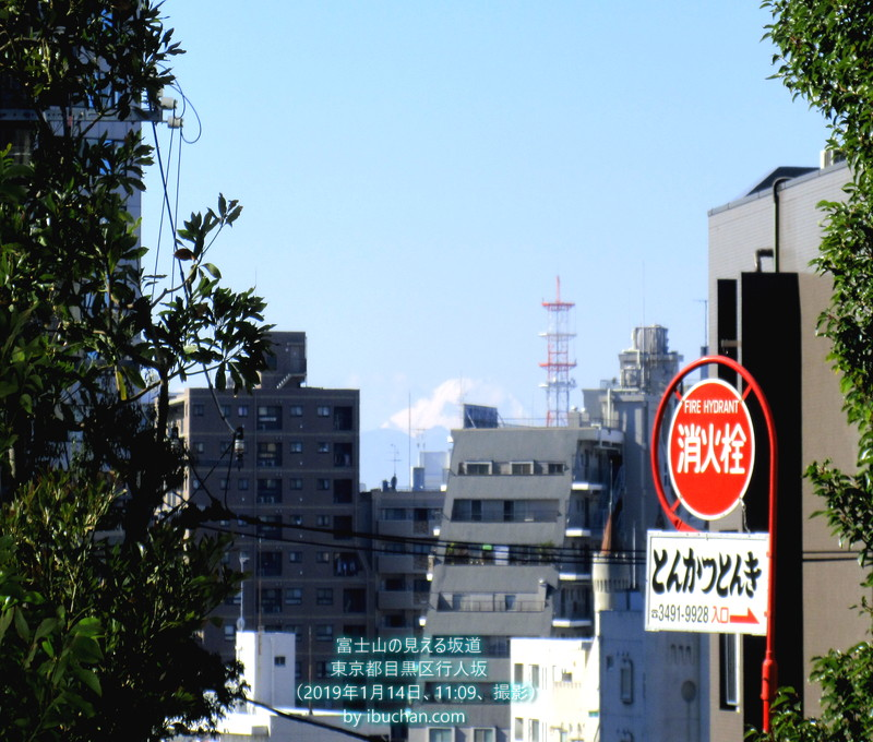 富士山の見える坂道
