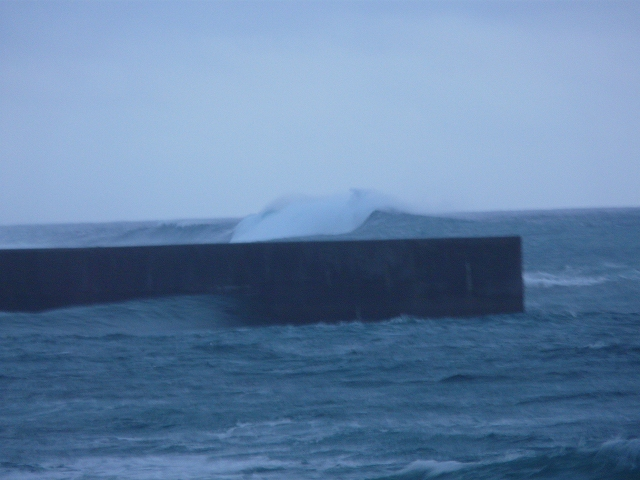 台風18号の大波